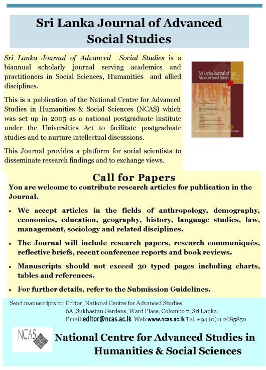 Sri Lanka Journal of Advanced Social Studies   National
